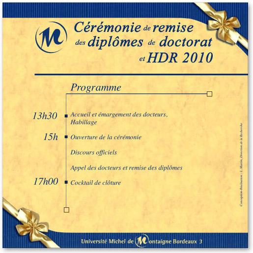Cérémonie de remise des diplômes de la promotion 2010