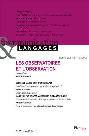 Revue Communication & Langages n°171 : Les observatoires et l'observation (collectif)