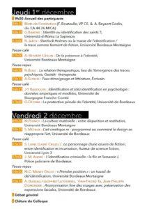Programme Colloque Identification / (Dé) identification : entre trace(s) et fiction(s) des 1 et 2 décembre 2016 à la maison de la recherche Université Bordeaux Montaigne