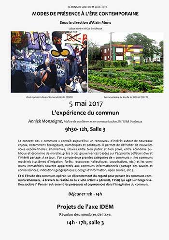 Séminaire IDEM 2016-2017 : L'expérience du commun