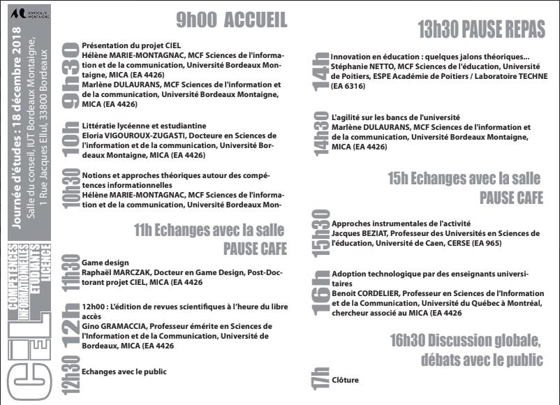 You are currently viewing Journées d'études CIEL (Compétences Informationnelles des Etudiants de Licence)