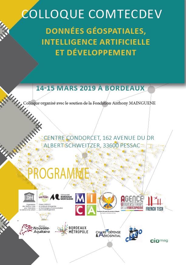 Colloque COMTECDEV : Données géospatiales et intelligence artificielle, enjeu pour le développement