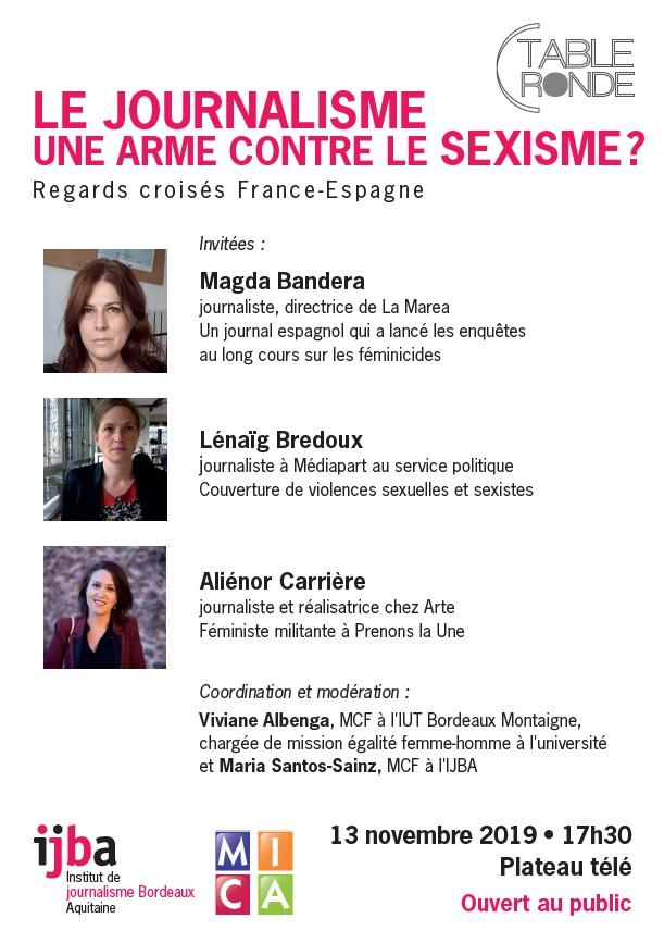 Table Ronde: Le journalisme, une arme contre le sexisme? Regards croisés France-Espagne