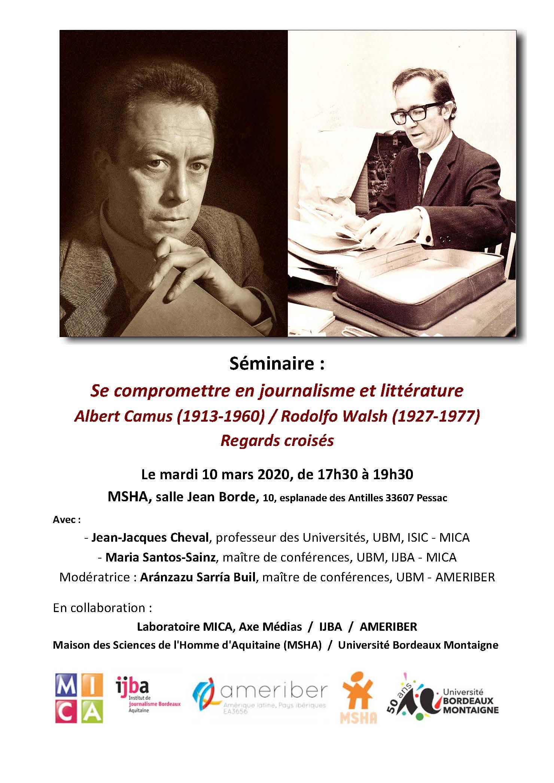 Se compromettre en journalisme et littérature : Albert Camus (1913-1960) / Rodolfo Walsh (1927-1977) – Regards croisés