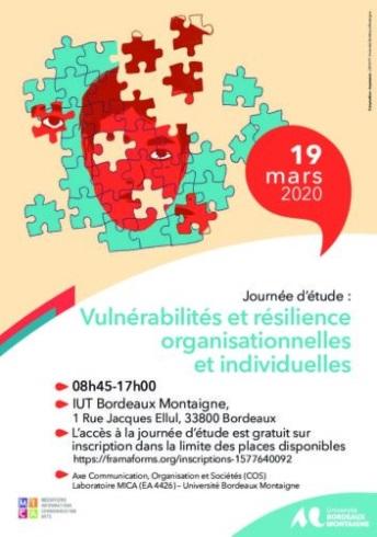 """You are currently viewing Journée d'études """"Vulnérabilités et résilience organisationnelles et individuelles"""""""